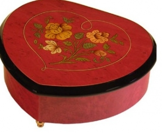 Heart wine red Shape music box
