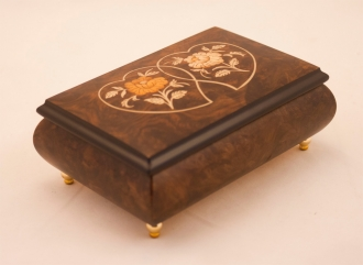 Heart Duo Matte Walnut Music Box