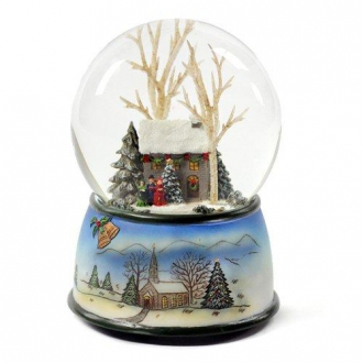 Winter Cottage with Carolers Snow - Water Globe