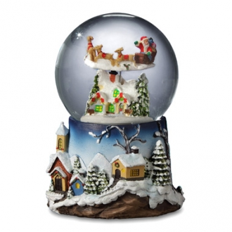 Santa Flying over Village 120mm Snow Globe