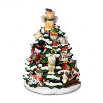 Holiday Cats Tree Figurine