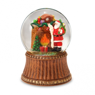 Santa by Fireplace 120mm Water Globe