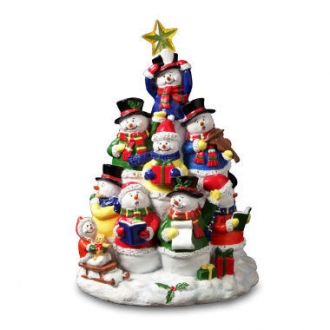 Snowman Tree Lighted Figuine