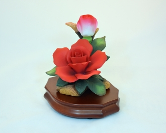 Cupid Flower - red rose musical figurine