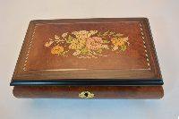Floral Inlay Matte Finish Musical Jewelry Box