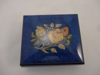 Royal blue high gloss music box flowers inlay
