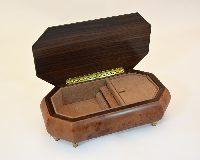 Burl Walnut Matte Finish Violin Music Box