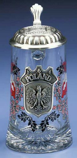 Poland Polish Glass German Beer Stein Mug
