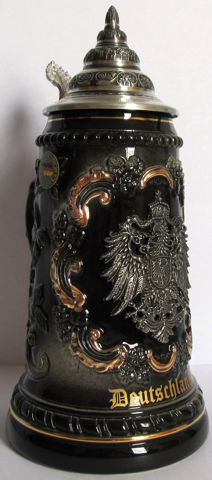 Black Deutschland Germany with Pewter Eagle LE German Beer Stein .5 L