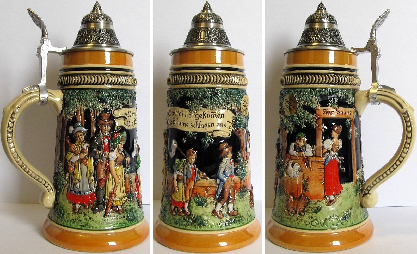 May Day Dancing Celebration LE Relief German Beer Stein .5 L