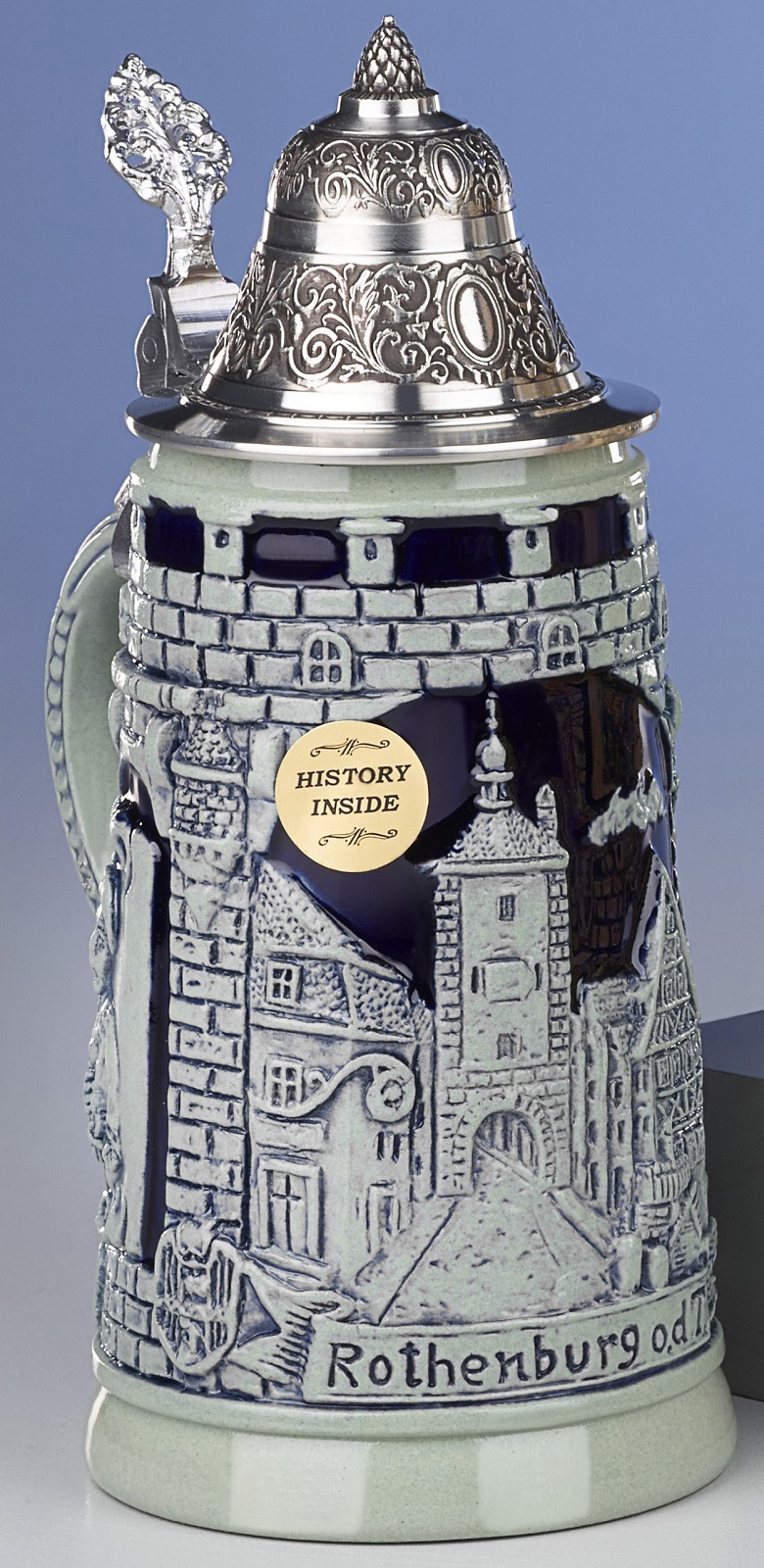 Rothenburg City LE Blue Relief German Beer Stein .25 L