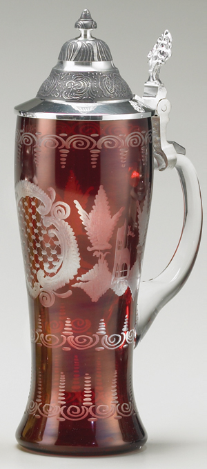 RUBY CARVED CASTLE GLASS STEIN