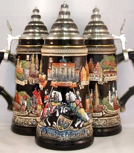 Black Deutschland Panorama Relief German Beer Stein .75L