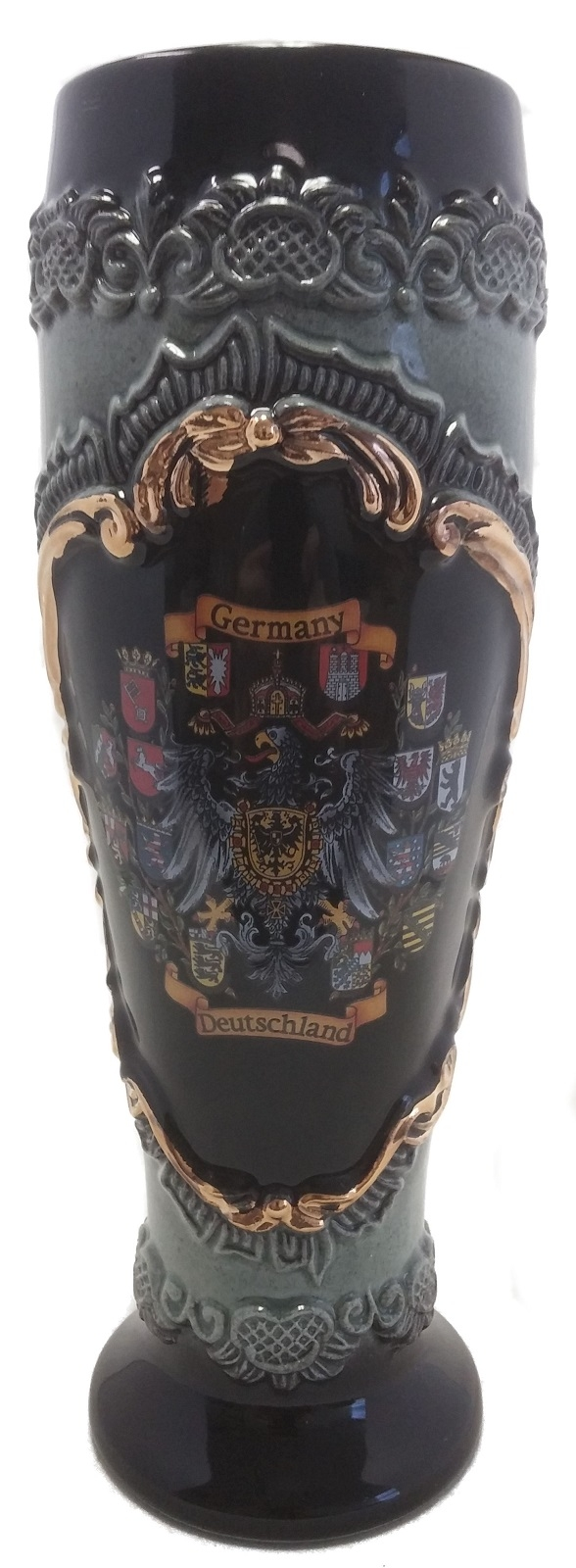Black Wheat Beer Mug with Gold Relief German Beer Stein .5L