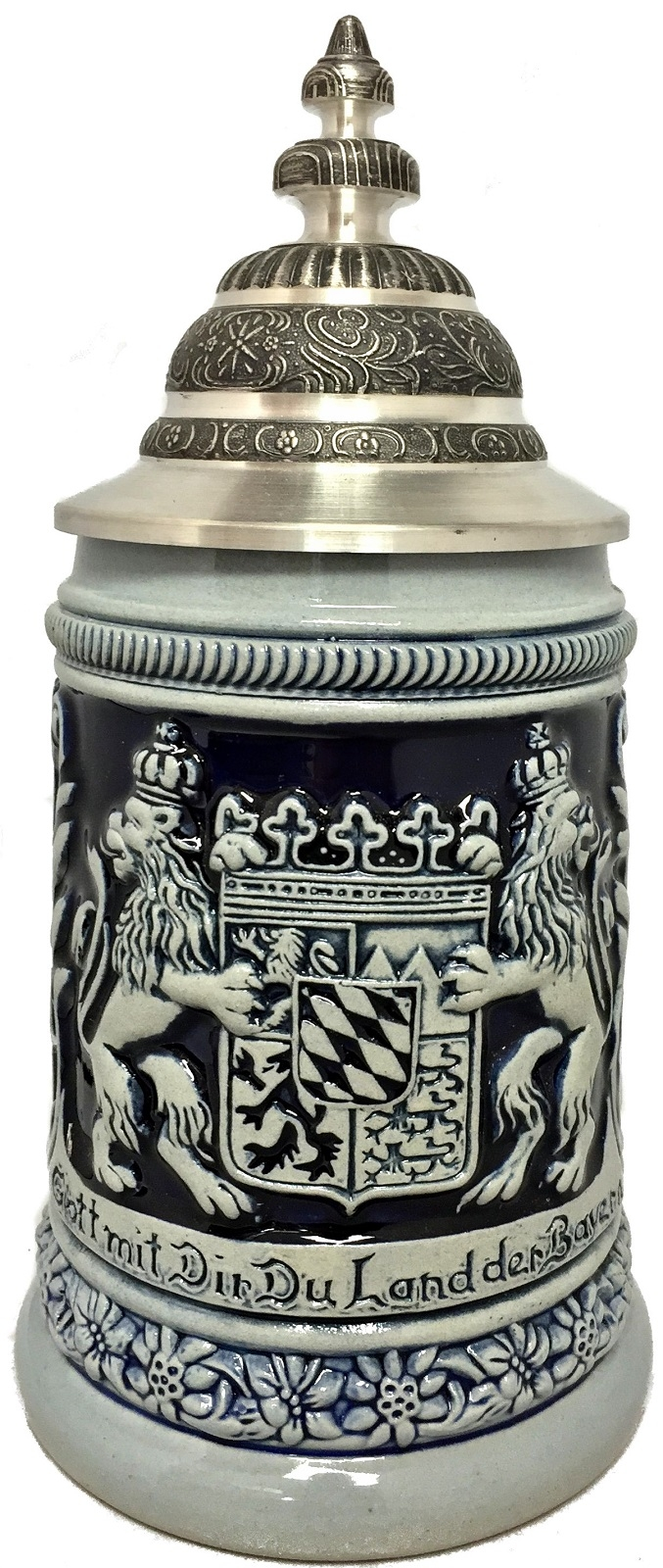 Blue God Be With You Bayern Bavaria Coat of Arms German Beer Stein .5 L
