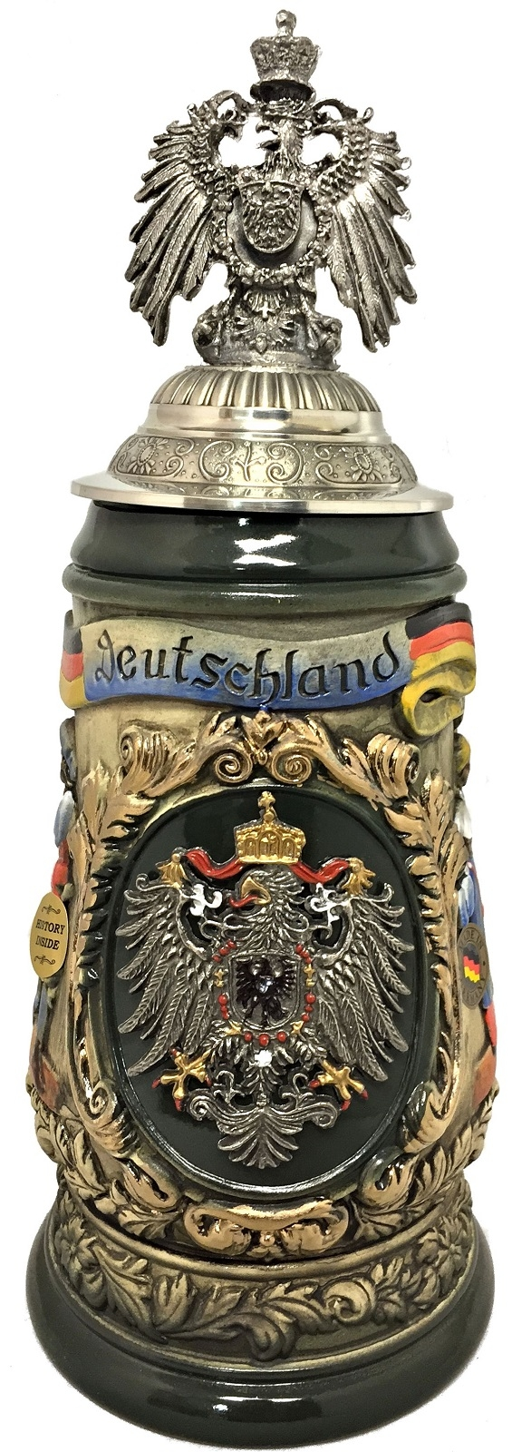 Deutschland Germany with 3D Pewter Eagle Lid LE Relief German Beer Stein 1 L