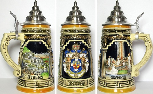 Limited Edition Greece German Beer Stein .75L