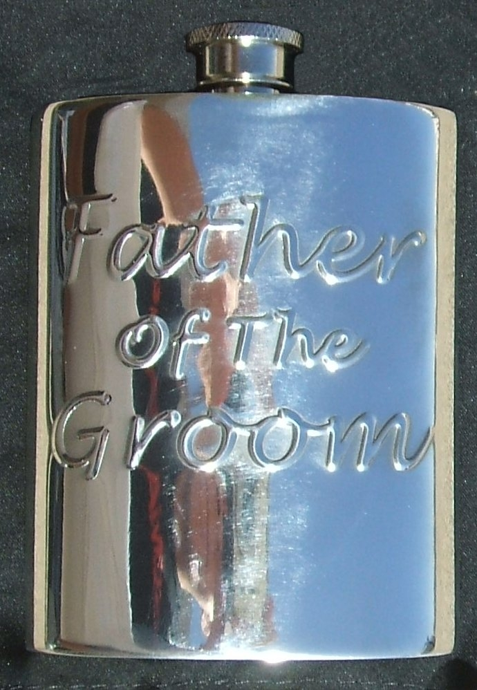 Father of the Groom Fine English Pewter Flask