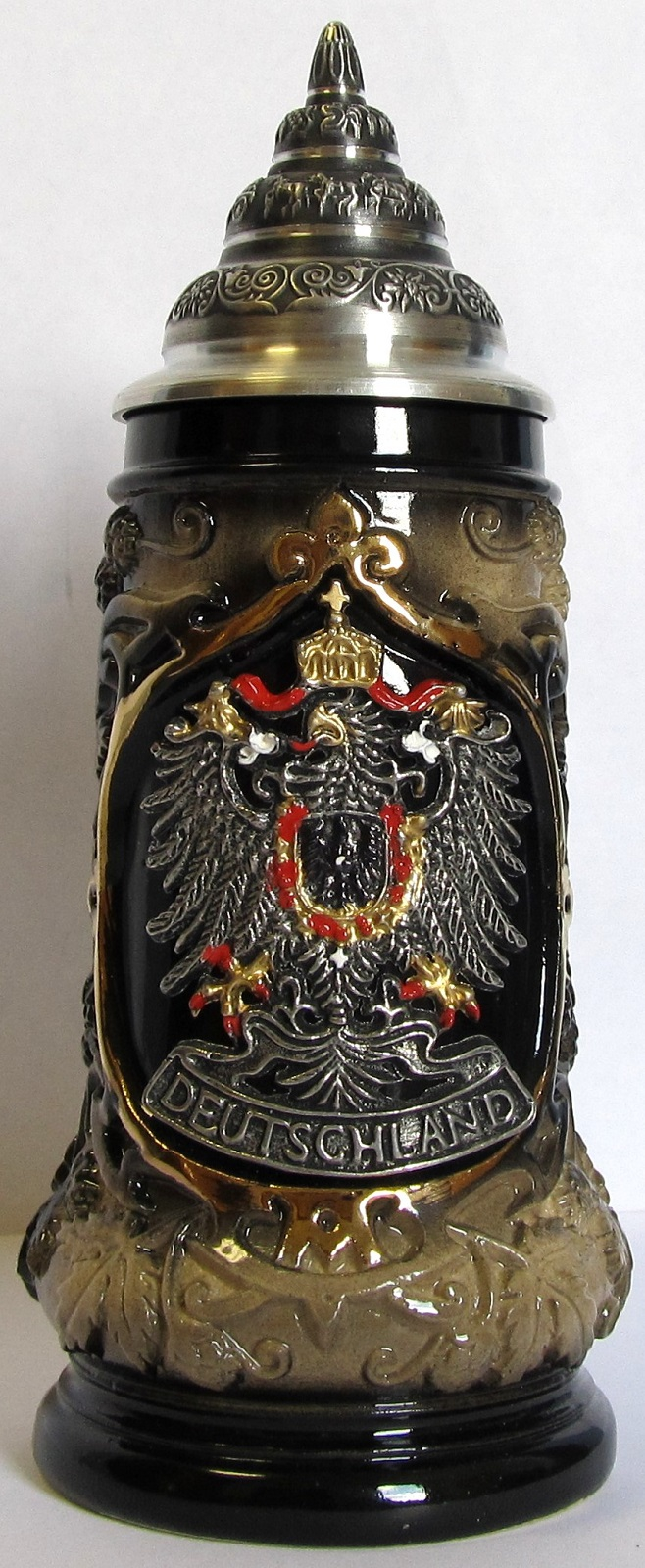 Deutchland Germany Black and Gold Eagle Crest Souvenir German Beer Stein .125 L