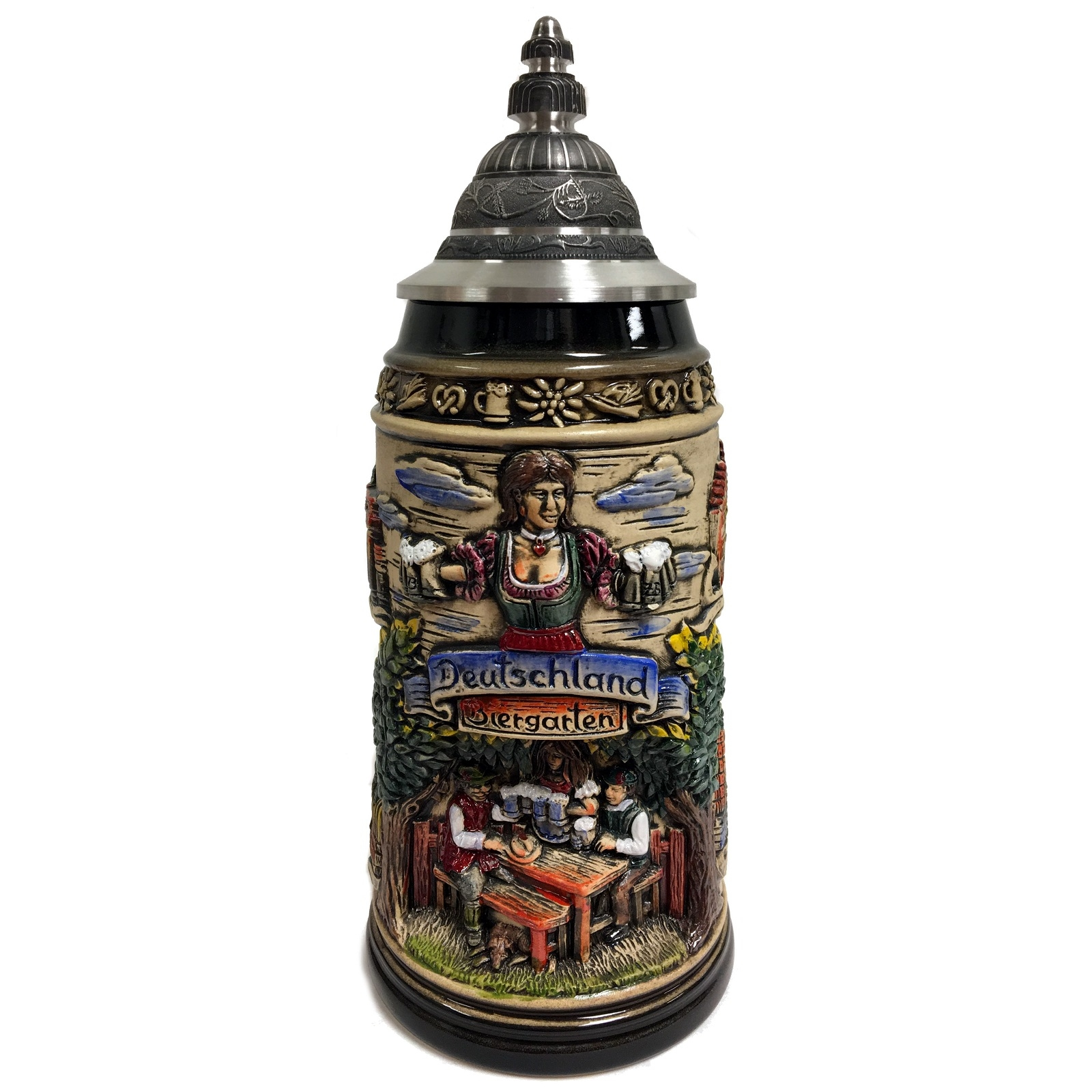 Deutschland Germany Biergarten Beer Garden LE Stoneware German Beer Stein 1 L