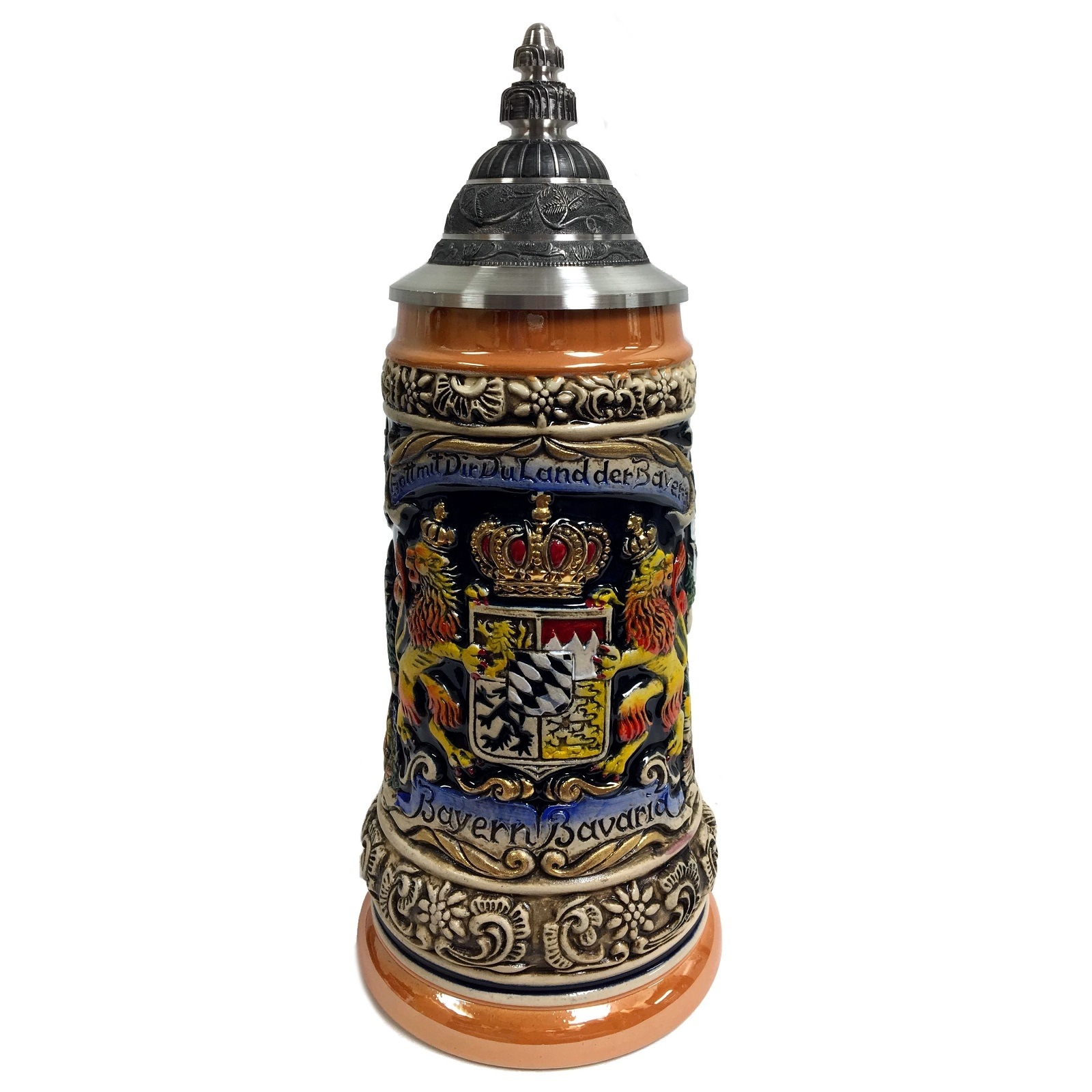 Bayern Bavaria Lion Crest with Landmarks LE Stoneware German Beer Stein .5 L