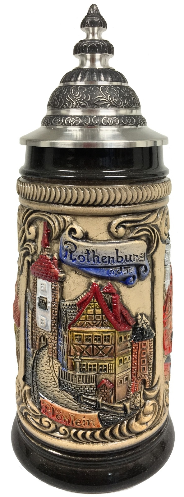 Rothenburg Germany Scenes of the City Colored Relief German Beer Stein .25 L