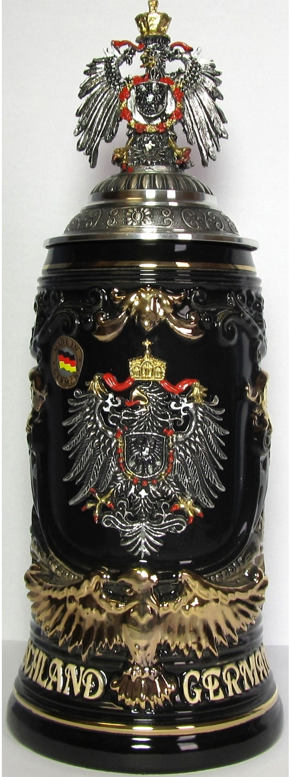 Germany Pewter Eagle Decal and Lid with Eagle Handle LE German Beer Stein .6 L