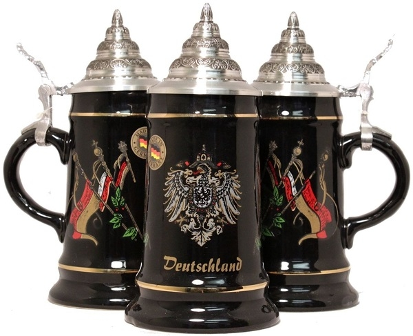 Black Deutschland and Flags German Beer Stein  .25L