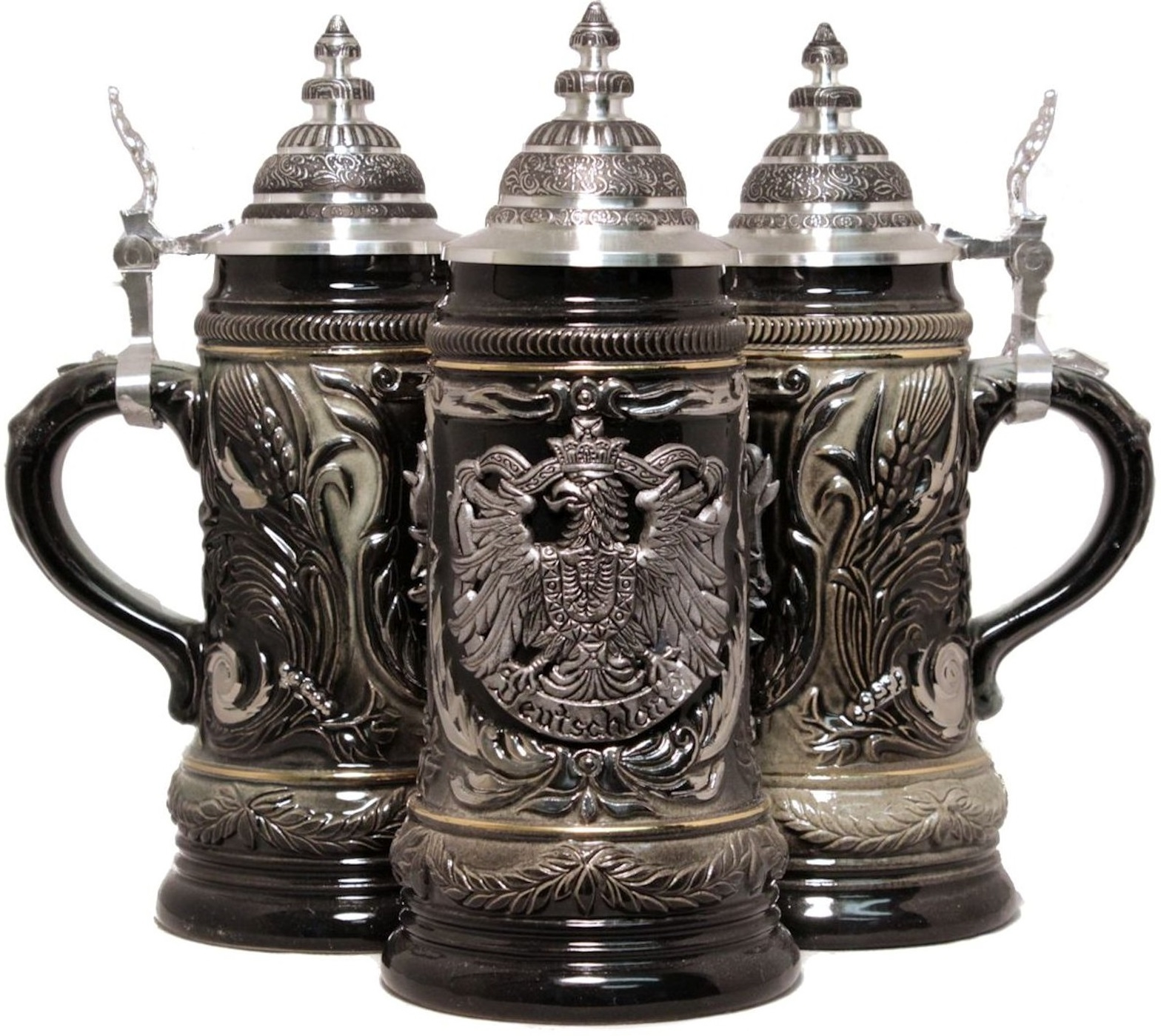 LE German Beer Stein with Pewter Eagle Relief