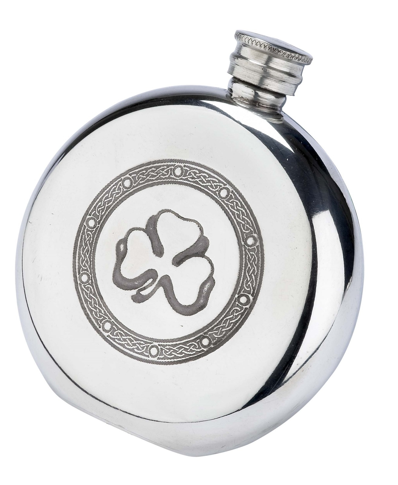 Irish Shamrock Clover Round Fine English Pewter Hip Flask
