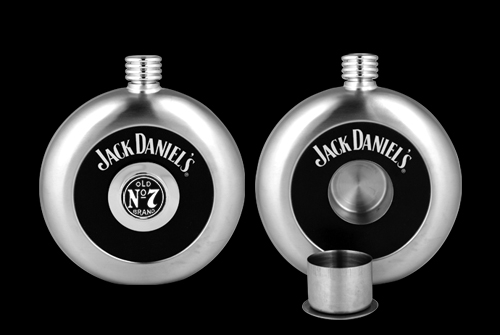 JACK DANIEL'S CIRCULAR FLASK W/ REMOVABLE SHOT