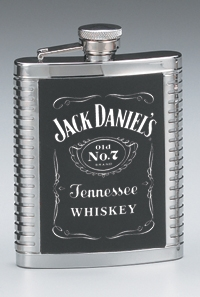 JACK DANIEL'S STAINLESS STEEL RIBBED FLASK