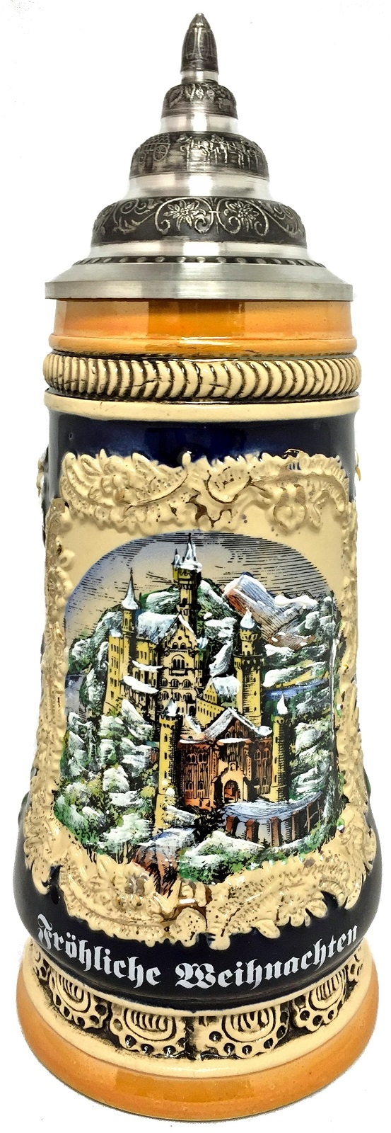 Merry Christmas Neuschwanstein Castle in the Winter LE German Beer Stein .5 L