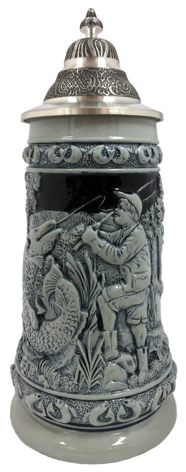 Fisherman Catching Fish in the Woods Blue Relief LE German Beer Stein .5L
