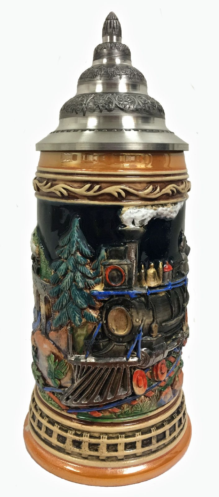 Train Locomotive Railroad Relief LE German Stoneware Beer Stein .5 L Germany
