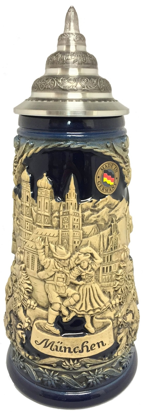 Munchen Munich Bavaria Germany Landmarks Blue Relief LE German Beer Stein .5 L