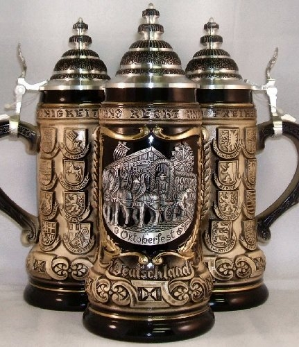 Oktoberfest Pewter Relief with State Crests Octoberfest German Beer Stein .75L