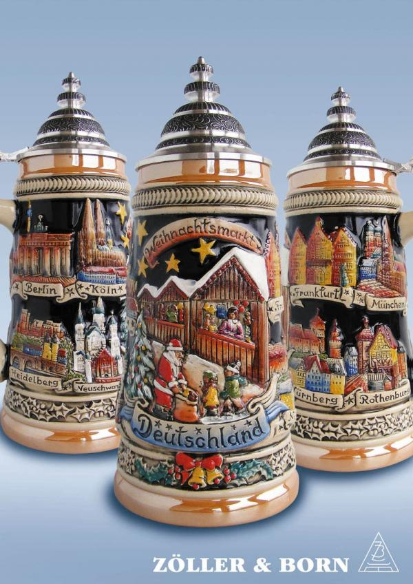 Panoramic Christmas Market German Beer Stein .75L