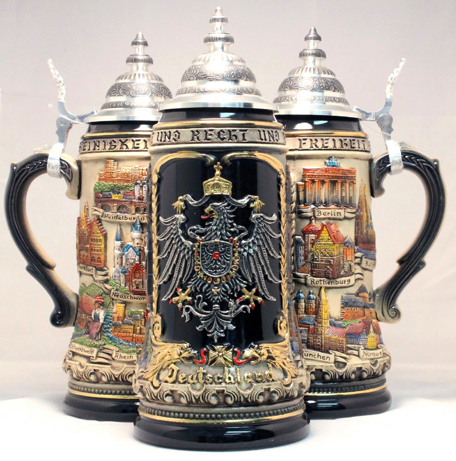 Rustic Deutschland Germany City with Pewter Eagle LE German Beer Stein 1 L
