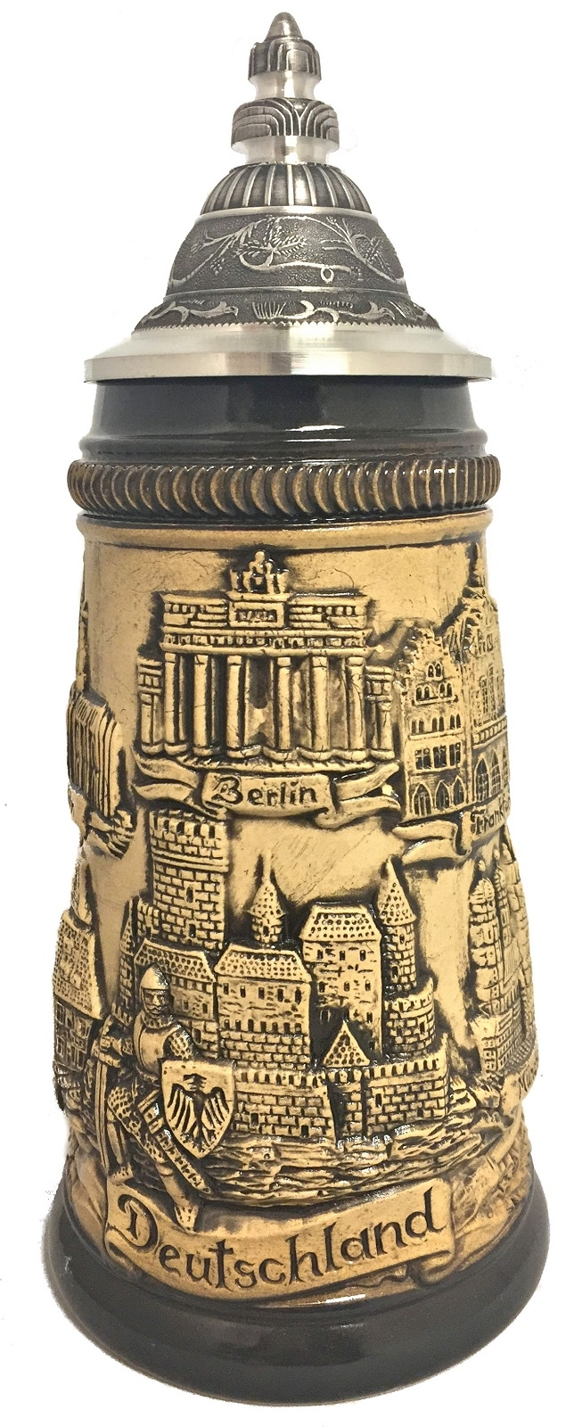 Rustic Natural German Cities with Guard Panorama German Beer Stein .25 L