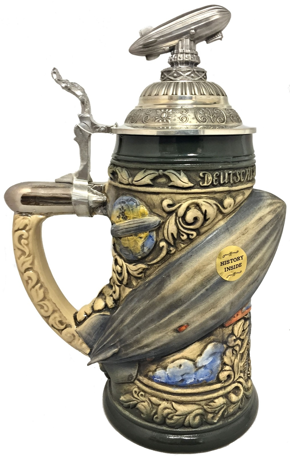 Rustic Zeppelin Blimp Airship with 3D Pewter Lid LE German Beer Stein .75 L