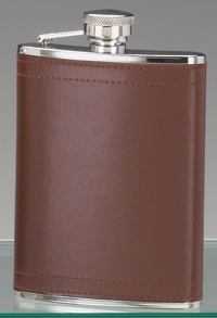 STAINLESS STEEL HIP FLASK & BROWN LEATHER COVER