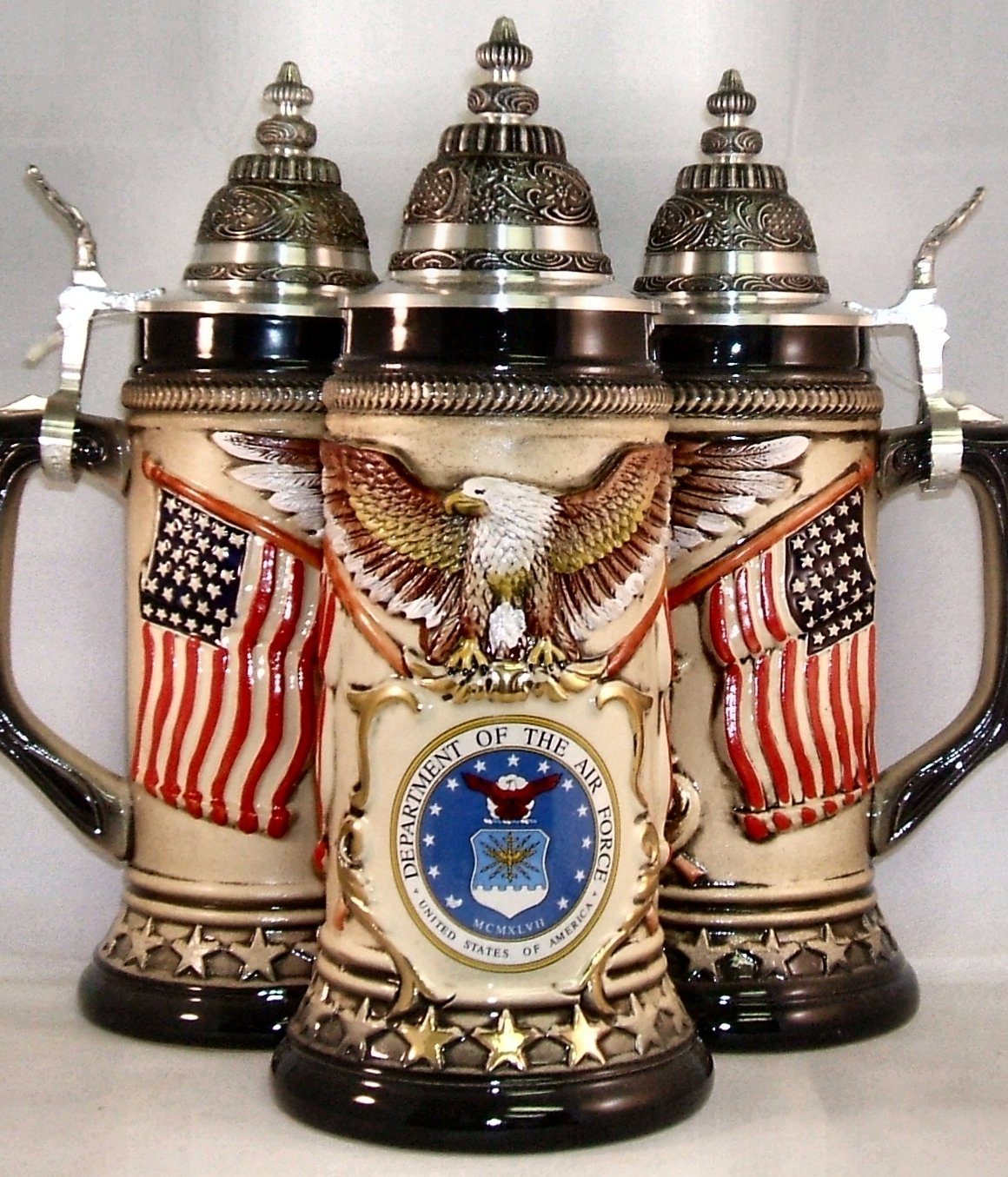 us air force usaf rustic german beer stein 75l authentic beer steins from germany. Black Bedroom Furniture Sets. Home Design Ideas
