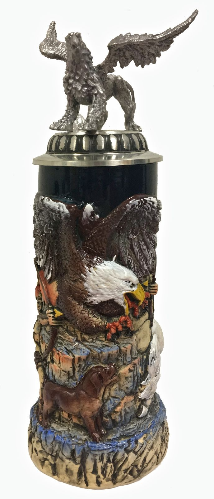 Hunters and Griffin with 3D Pewter Lid LE German Stoneware Beer Stein .75 L