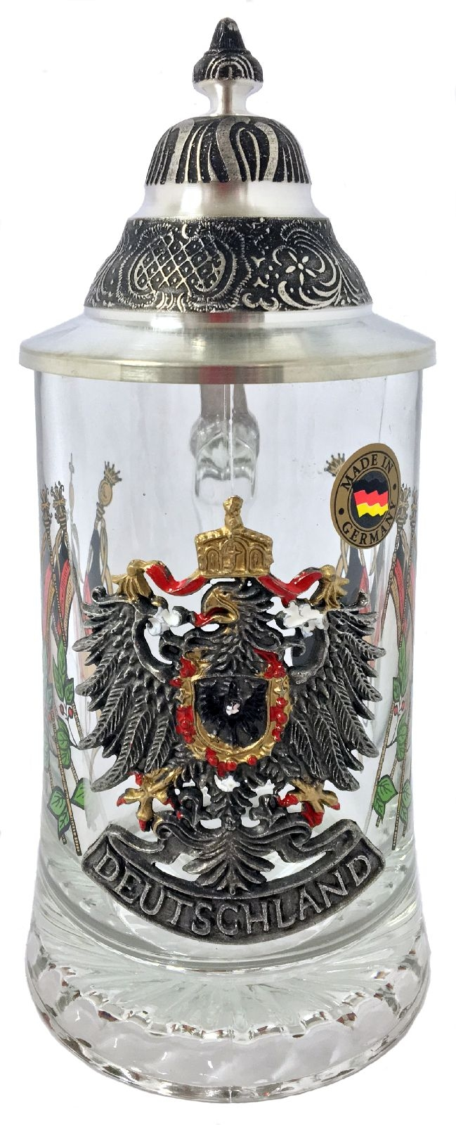Deutschland Germany Eagle and Flags Pewter Lid Glass European Beer Stein .4 L