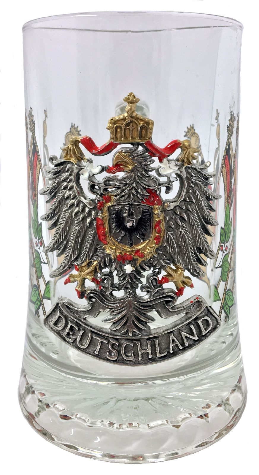 Deutschland Germany Pewter Eagle with Flags Glass European Beer Stein .4 L