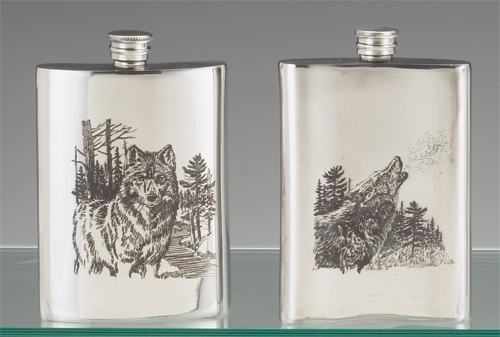 JAMES MEGER PEWTER TIMBER WOLF FLASK