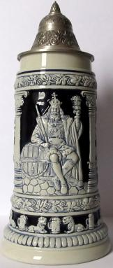 Gambrinus King of Beers LE Blue Relief German Beer Stein .75L
