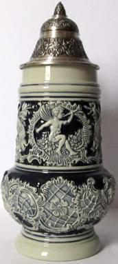 Rococo Angel with Trumpet LE Blue Relief German Beer Stein .5 L