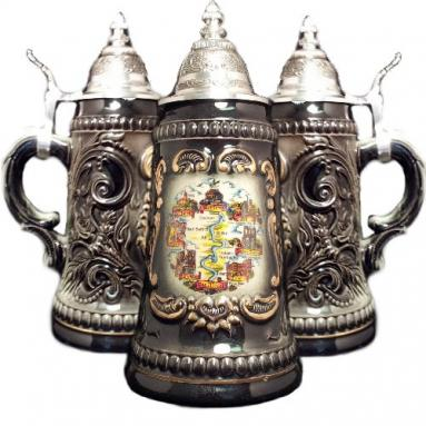 Mosel River Valley Black Shield German Beer Stein .25L